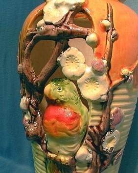Parrot Vase - Japan Pierced Body Art Pottery  - Colorful PARROT in Flowers - Oriental Pottery