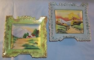 Two Hand Painted Scenery Porcelain Hanging Wall Plaques