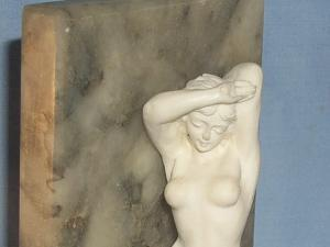Marble Bookend with Nude Figurine - Misc.