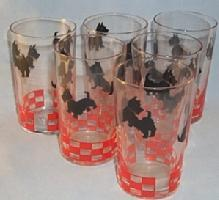 Six SCOTTIE DOG Glass Tumblers