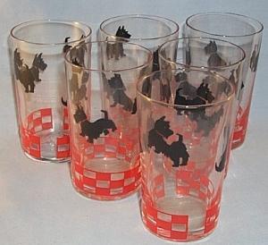 Six SCOTTIE DOG Glass Tumblers