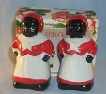 Hand Painted Contemporary MAMMY Ceramic Salt and Pepper Shakers in Box  - Ethnographic
