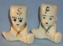 SITTING BOYS Porcelain Salt and Pepper Shakers