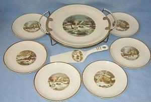 CURRIER & IVES Pie / Cake Serving Set - Pottery