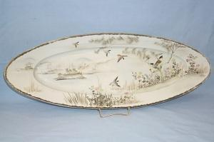 Oriental Bird Decorated FISH Porcelain Plate