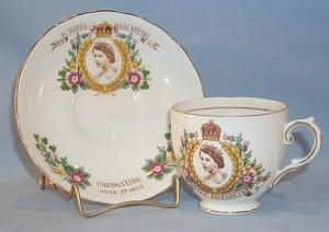 Tuscan QUEEN ELIZABETH II Porcelain Coronation Cup and Saucer Set