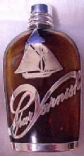 FLASK Amber Sailboat Sterling Overlay  - Glass