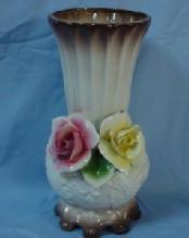 Red and Yellow Rose Decorated CAPODIMONTE Pottery Vase
