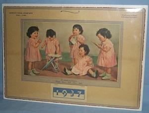 ADRIAN COAL COMPANY Advertising 1937 Calendar with THE DIONNE QUINTUPLETS Illustration
