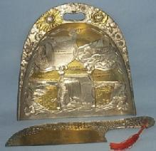 Gold and Silver Finished NIAGARA FALLS Advertising Pewter Crumb Scrapper and Pan