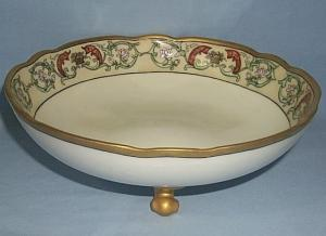Bavarian Three Footed FISH and Gold Decorated Porcelain Bowl
