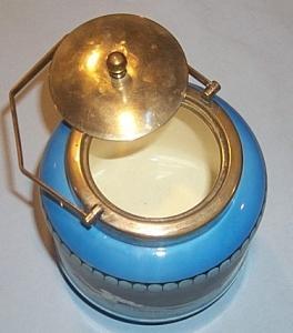 English MAJOLICA Sea Scene Covered Biscuit Jar - Porcelain