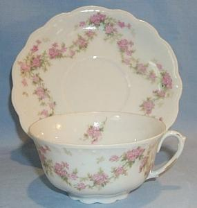 Four Pink Porcelain APPLE BLOSSOM Pattern Cups and Saucers