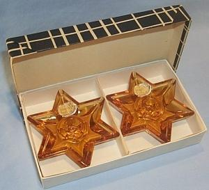 Two Czech Bohemia Amber Glass Star Shaped Candle Holders in Box