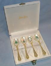 Four NEIMAN MARCUS Gold Plated Christmas Decorated Spoons in Box - Metalware