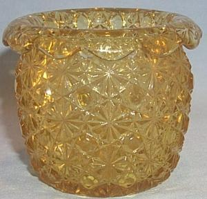 DAISY & BUTTON Turned Down Rim Amber Glass Toothpick Holder
