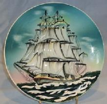 MAJOLICA LIKE Sailing Ship Wall Hanging Porcelain Plate