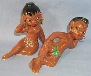BLACK NATIVE COUPLE ON THE BEACH Porcelain Figurines
