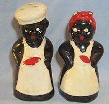 BLACK CHEF AND MAMMY Ceramic Salt and Pepper Shakers - Ethnographic