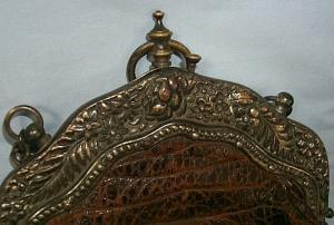 Victorian ALLIGATOR PURSE with Brass Hardware and Chain Handle - Misc.