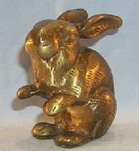 Bronze SITTING RABBIT Figurine - Metalware
