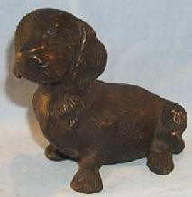 Bronze SITTING DOG Figurine - Metalware
