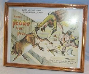 SMOKE PEDRO CUT PLUG Advertising Print in Glassed Frame - Ethnographic