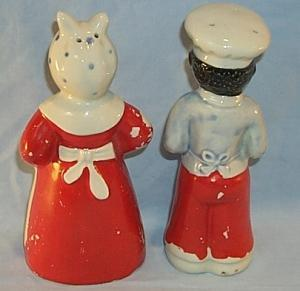 Ceramic BLACK CHEF AND MAMMY Salt and Pepper Shakers - Ethnographic