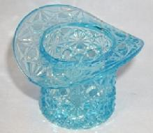 Top Hat DAISY AND BUTTON Pattern Blue Glass Toothpick Holder