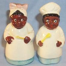 Ethnographic Black Porcelain Chef And Mammy  Salt And Pepper Shakers.