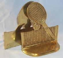 Polished Brass TENNIS RACKET Bookends Metalware
