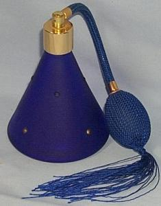 Satin Cobalt Blue Glass Perfume Atomizer.