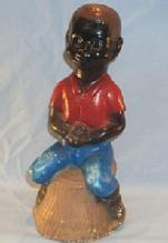 BLACK BOY SITTING ON STUMP FISHING Concrete Figurine - Ethnographic