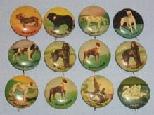 Twelve Dog and Bird Metal Pin Back Buttons - Metalware
