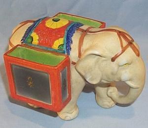 Colorful Porcelain ELEPHANT  Matchholder - Tobacciana