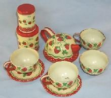 WOLVERINE Tin Toy Nine Piece Strawberry Decorated Child's Tea Set