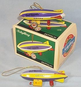 Two GRAF ZEPPELIN Tin Toy Ornaments in Box