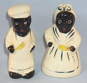 Black Chef and Mammy Porcelain Salt and Pepper Shaker Set - Ethnographic