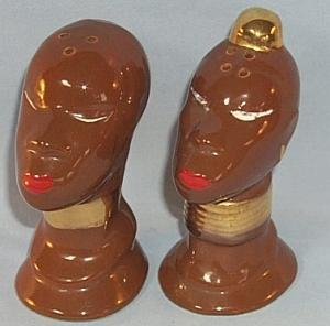 Brown Native Couple Porcelain Salt and Pepper Shaker Set - Ethnographic