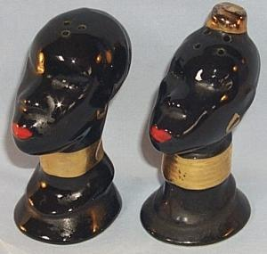 Black Native Couple Porcelain Salt and Pepper Shaker Set - Ethnographic