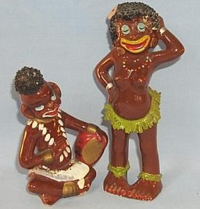 Black Native Couple Porcelain Figurines - Ethnographic