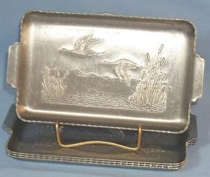 (4)  Aluminum Two Handled DUCK Decorated Serving Trays - Metalware