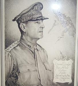 Etching Print of GENERAL DOUGLAS MACARTHUR in Bamboo Frame - Military
