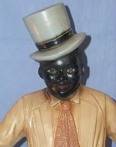 Ceramic BLACK MAN IN TOP HAT SITTING ON COTTON BALE Figurine - Ethnographic
