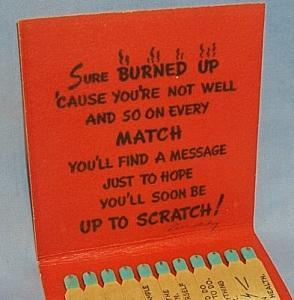 HALLMARK CARD Novelty Get Well SCRATCH Giant Book of Matches - Tobacciana