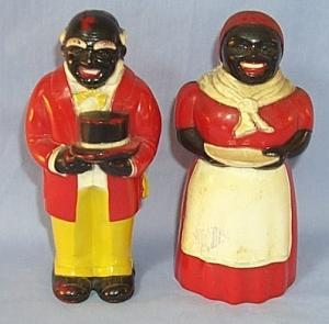 Ethnographic AUNT JEMIMA AND UNCLE MOSE Plastice Salt And Pepper Shaker  Set.