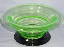 Large Clear Glass VASELINE BOWL On Black Glass Stand