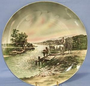 Large Porcelain VILLEROY & BOCH Decorative Hanging Plate.