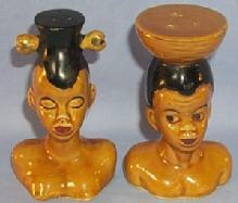 Ethnographic Black Native Couple Porcelain Salt and Pepper Set