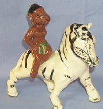 Ethnographic Black Native Girl on Zebra Porcelain Planter